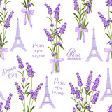 Fabric pattern with lavender flowers and eiffel tower. Seamless background for fabric design. Vector illustration.
