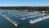 Hovering above a boatyard - 218085740