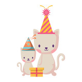 happy birthday design with cute cats with party hats over white background, vector illustration
