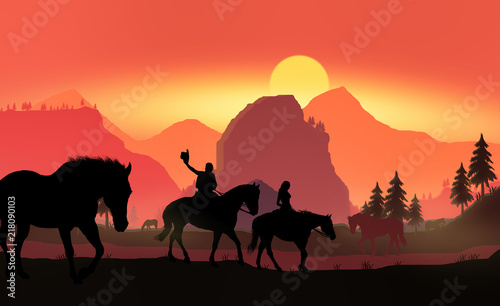 Foto Spatwand Rood couple on horseback at sunset a3