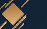Abstract geometric banner with gold shapes on blue black background. Elegant style. Vector Illustration - 218091713