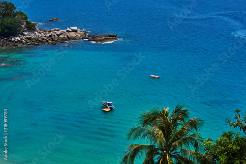 Exotic Coast With Beautiful Beach With Moored Fishing Boat Top View Of Tropical Island With