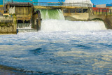 beautiful waterfall industrial landscape at the beach