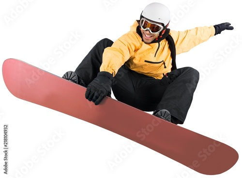 obraz lub plakat Snowboarder Performing Big Air Isolated