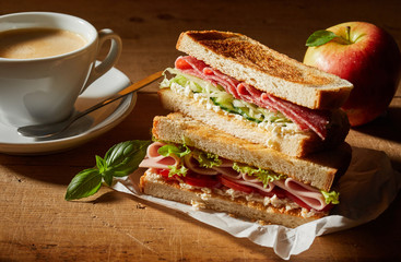 Fresh tasty double sandwich with coffee for lunch