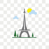Eiffel tower vector icon isolated on transparent background, Eiffel tower logo design