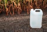 White plastic pesticide chemical jug in cornfield - 218119595