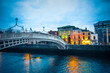 Ha'Penny Bridge over the River Liffey in Dublin Ireland seen a dusk - 218138587