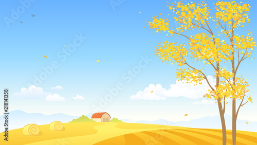 Aluminium Boerderij Vector cartoon illustration of an autumn farm background