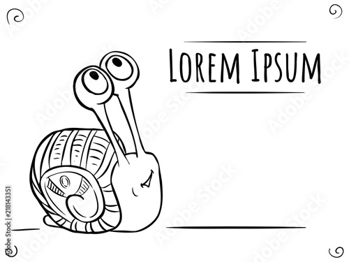 Coloring page Snail Line-art with frame for text