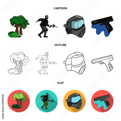 Mask, gun, paint, inventory .Paintball set collection icons in cartoon,outline,flat style vector symbol stock illustration web.