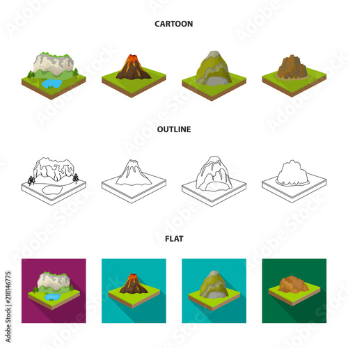 Mountains, rocks and landscape. Relief and mountains set collection icons in cartoon,outline,flat style isometric vector symbol stock illustration web.