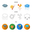 Rain, snow, heat, weathervane. The weather set collection icons in cartoon,outline,flat style vector symbol stock illustration web.