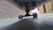 Longboard ride trough an atmospheric alley.