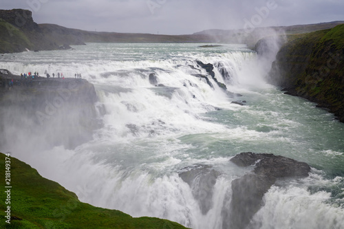 View of Gullfoss waterfall ,Iceland summer. - 218149374
