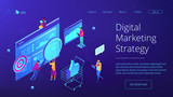 Isometric team of specialists working on digital marketing strategy landing page. Digital marketing, seo, digital analysis, profit concept. Blue violet background. Vector 3d isometric illustration. - 218150742