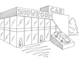 Car showroom graphic exterior black white store sketch illustration vector - 218154759