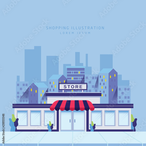 Sticker Storefront in city vector illustration
