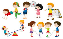 Children Doing Activites Sticker
