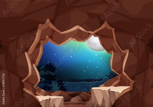 Fotobehang Bruin A moonlight cave landscape