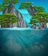 A beautiful waterfall landscape - 218158126