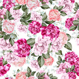 Beautiful watercolor pattern with peony flowers.  - 218158962