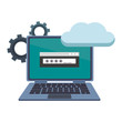Laptop with cloud computing and security password vector illustration graphic design