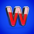 Superhero letter W uppercase isolated on blue background.