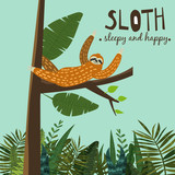 Cute funny sloth hanging on the tree. Sleepy and happy. Adorable hand drawn cartoon animal illustration. Vector cute sloth for greeting card, invites, poster, banner, t-shirt print, background