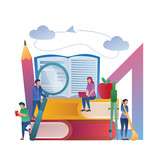 Education Concept, Study Together. Flat Vector Gradient Illustration