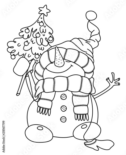 Vector Happy Snowman Cartoon Holding Christmas Tree Black