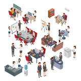 Set Of Isometric Office, Bussiness People Teamwork. Flat 3D Vector.jpg - 218169742