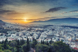 Panorama view on Athens, Greece, at sunrise. Scenic travel background with dramatic sky. - 218174347