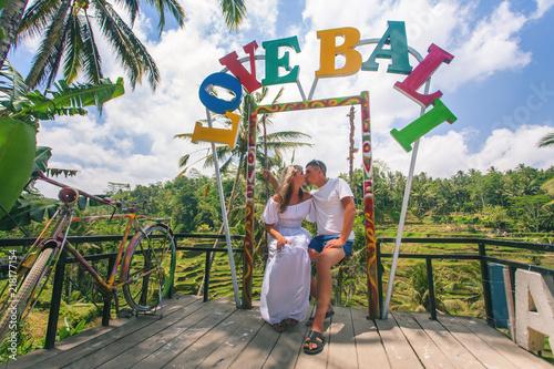 Fotobehang Bali Happy couple traveling at Bali, rice terraces of Tegalalang, Ubud