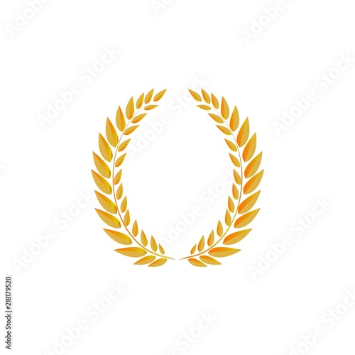 Gold Laurel Wreath On White Background Modern Symbol Of Victory And