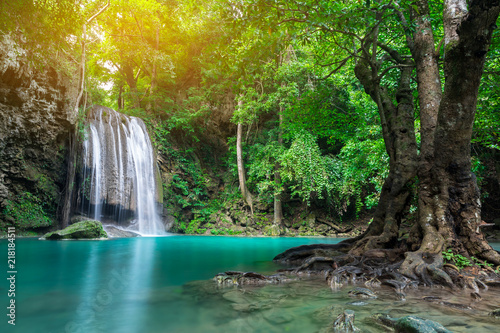 Erawan waterfall in tropical forest, Thailand  - 218184511
