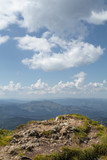 Mountain view from the top. Landscape background of blue sky and high mountain top panorama