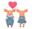 two pigs holding heart - 218199521