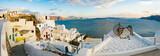 Greece Santorini Island in Cyclades wide panoramic view of caldera