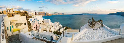 Aluminium Beige Greece Santorini Island in Cyclades wide panoramic view of caldera