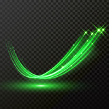 Green particles wave or comet trail with vector sparkling light effect - 218203523