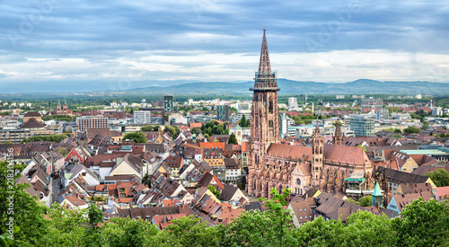 Leinwandbild Motiv Aerial panorama of Freiburg im Breisgau with Cathedral on foreground, Germany