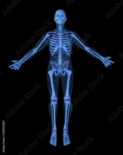 Plakat Man doing yoga, 3D mesh other skeleton model. 3D illustration concept