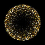 Golden glitter confetti sphere or gold glittery explosion. Vector glittery gold firework splatter background template for greeting cards or fashion backdrop design - 218204791