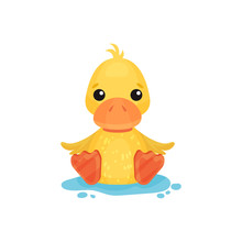 Cute Little Yellow Duckling Character Sitting In A Puddle  Illustration   Sticker