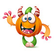 Cartoon, funny, crazy pumpkin characters. Halloween illustration Vector eps 10 - 218212789