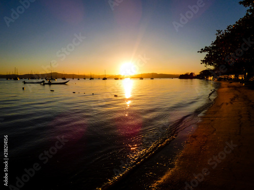 Sunset in Santo Antonio de Lisboa, fishermen village in Florianopolis - Brazil