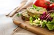 Vegetarian food Wheat Gluten Steaks with spinach