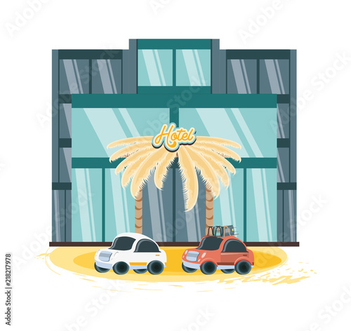Fotobehang Auto hotel building vacations days vector illustration design