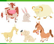 cartoon happy farm animal characters set